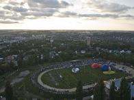 Вид с воздушного шара на стадион Кристал и общий старт воздушных шаров