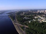 Фото Киева с высоты птичьего полета, вид на правый берег
